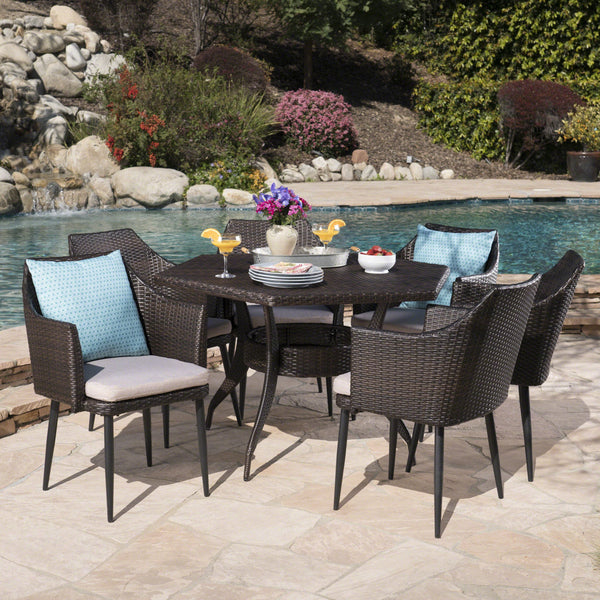Kendrah Outdoor 7 Piece Wicker Hexagon Dining Set With Wicker Chairs And Water Resistant Cushions