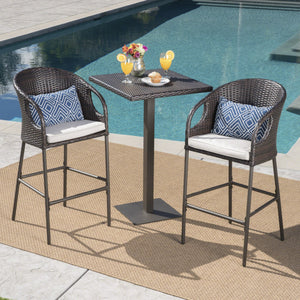 Doland Outdoor 3 Piece 40 Inch Wicker Square Bar Set With Water Resistant Cushions