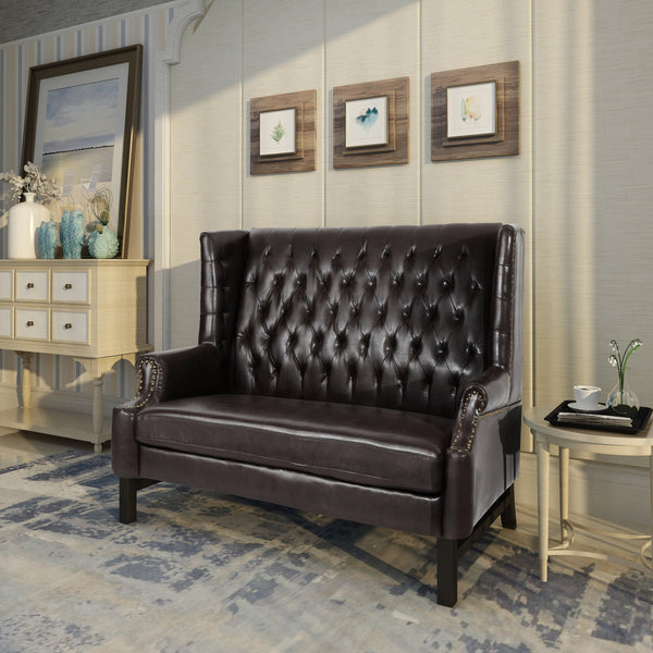 Njord High Back Tufted Winged Leather Loveseat