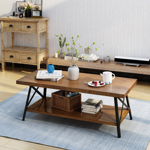Calliope Industrial Natural Finish Faux Wood Coffee Table