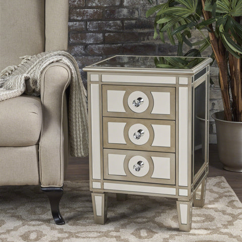 Madolyn Finished Mirrored 3 Drawer Cabinet With Faux Wood Frame