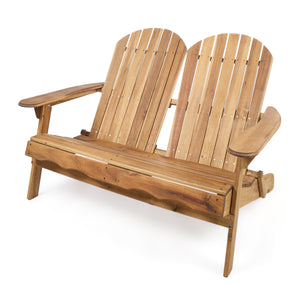 Makena Outdoor Natural Finish Acacia Wood Adirondack Loveseat