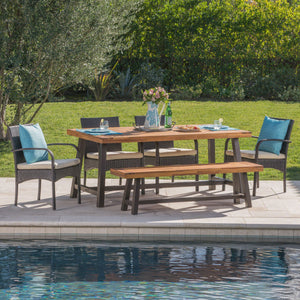 Lula Outdoor 6 Piece Rustic Metal Iron And Sandblast Finished Acacia Wood Dining Set With 4 Wicker Dining Chairs And Water Resistant Cushions