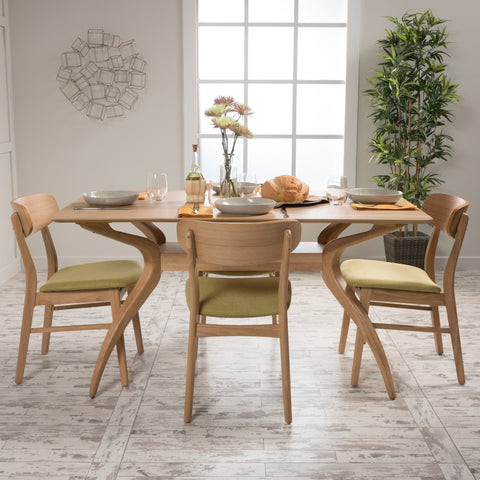 Lucca Tea Fabric/ Natural Finish Curved Leg Rectangular 5 Piece Dining Set