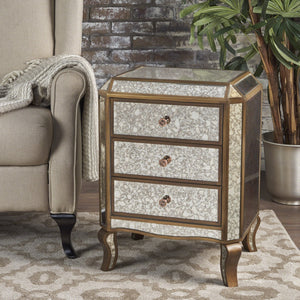 Nicklaus Finished Mirrored 3 Drawer Cabinet With Faux Wood Frame