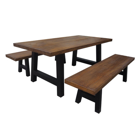Lezandro Outdoor 3 Piece Natural Finish Concrete Picnic Set