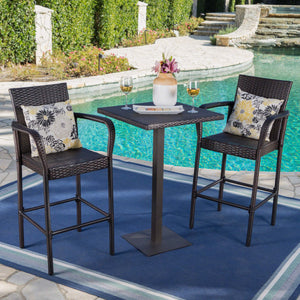 Laila Outdoor 3 Piece Square 26 Inch Wicker Bar Set
