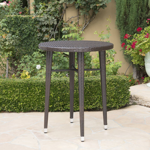 Doland Outdoor 32.5 Inch Round Wicker Bar Table