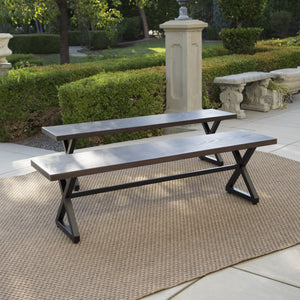 Stupendous Rocky Outdoor Aluminum Dining Bench With Steel Frame Set Of 2 Alphanode Cool Chair Designs And Ideas Alphanodeonline