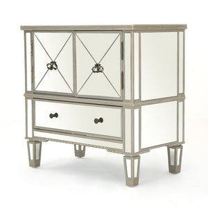 Rusk Finished Mirrored 3 Drawer Cabinet With Faux Wood Frame