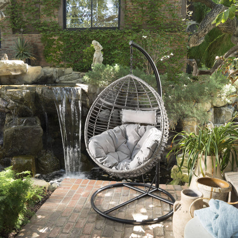 Laval Outdoor Wicker Hanging Basket Chair With Water Resistant Cushions And Iron Base