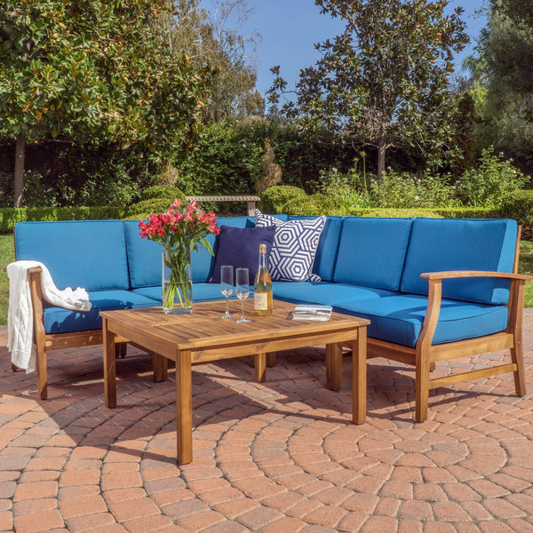 Penfield 6 Piece Outdoor Wood Chat Set W/ Water Resistant Cushions