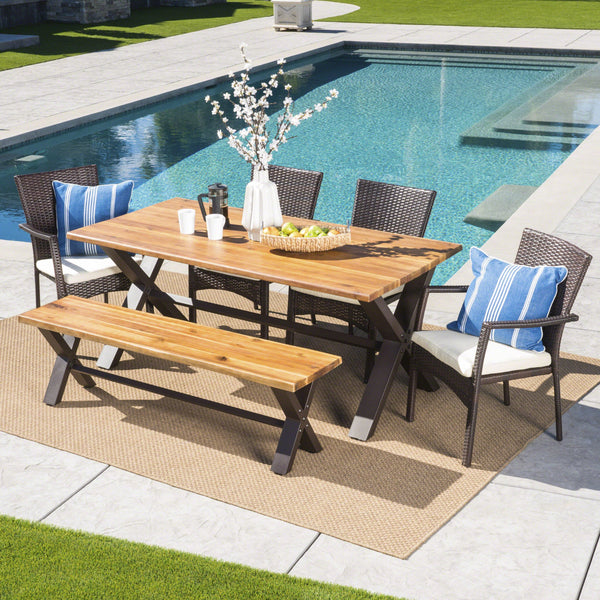Bragdon Outdoor 6 Piece Teak Finished Acacia Wood Dining Set With Wicker Dining Chairs With Water Resistant Cushions