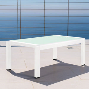 Canobie Outdoor Aluminum Coffee Table With Tempe Glass Top