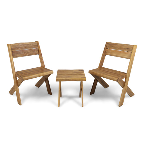 Dymnos Outdoor Acacia Wood 2 Seater Chat Set