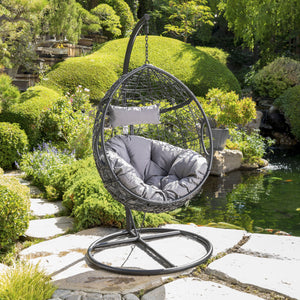 Kono Outdoor Wicker Hanging Basket Chair With Water Resistant Cushions And Iron Base