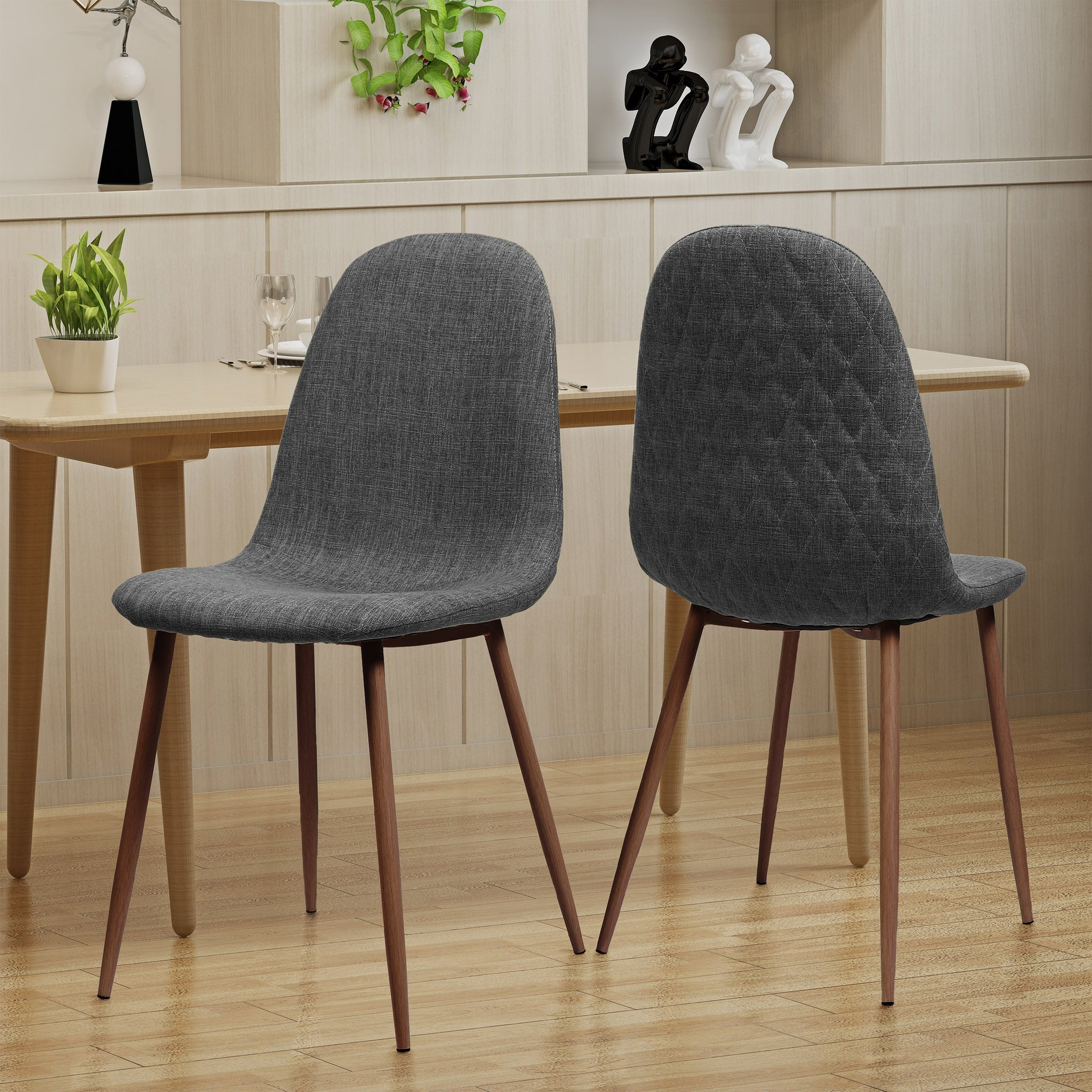 Cabarrus Mid Century Fabric Dining Chairs With Wood Finished Legs (Set Of 2)