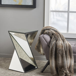 Amelia Geometrical Mirrored Side Table
