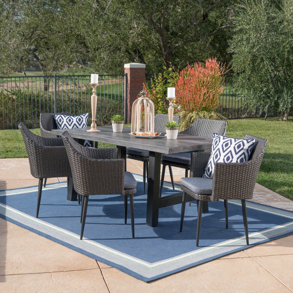 Astra Outdoor 7 Piece Mixed Wicker Dining Set With Natural Finish Concrete Table And Water Resistant Cushions