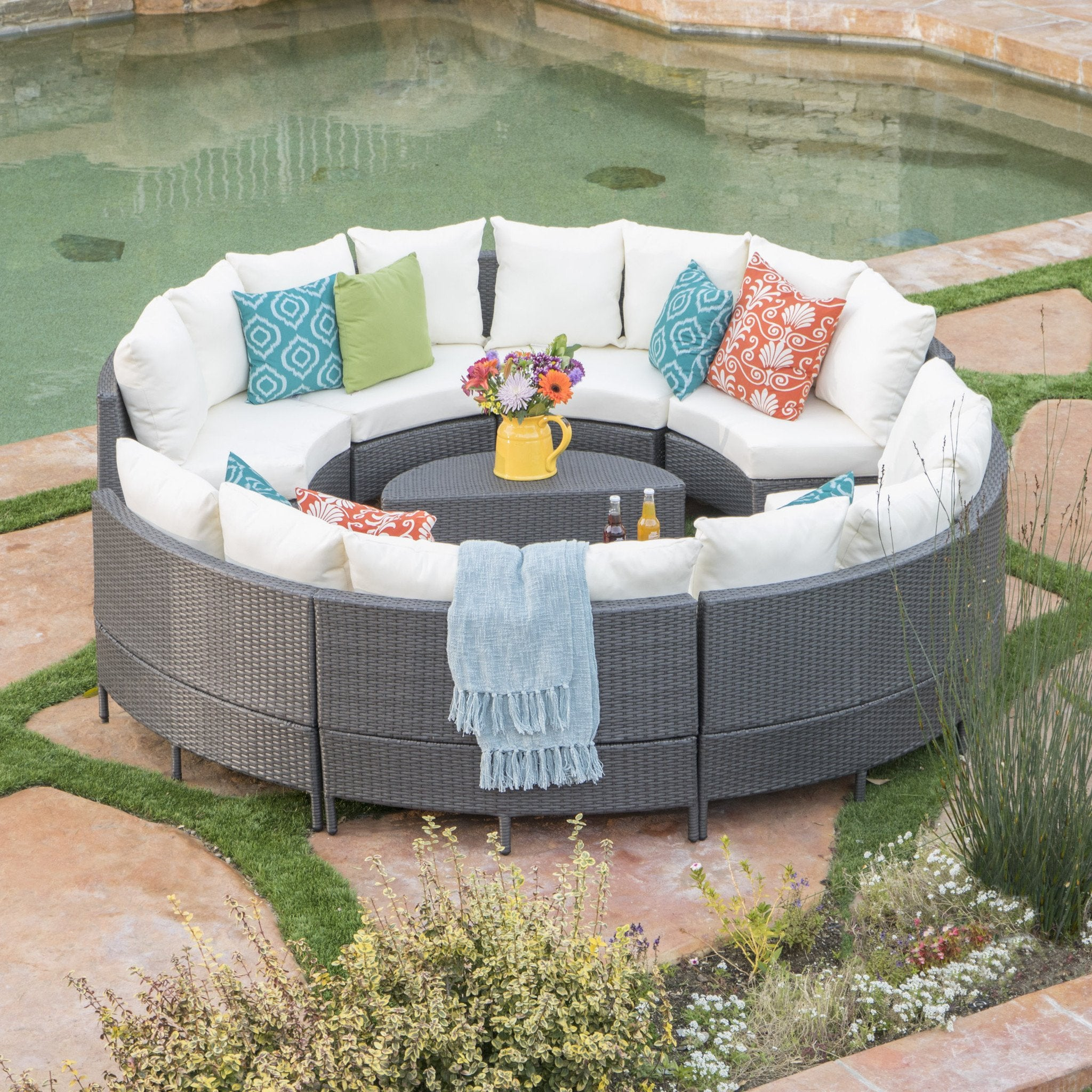 Neville Outdoor 8 Seater Wicker Sofa Set With Water Resistant Fabric Cushions