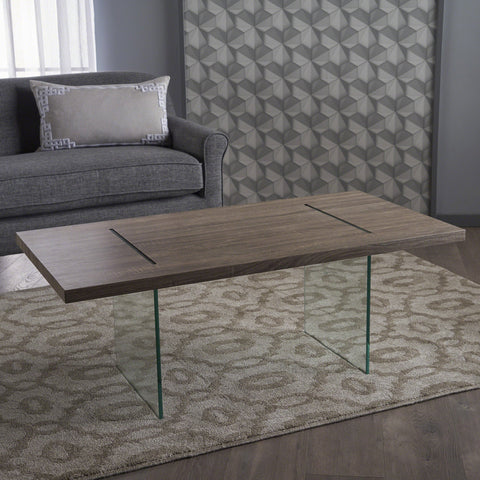 Winston Modern Sonoma Faux Wood Overlay Coffee Table With Tempe Glass Legs