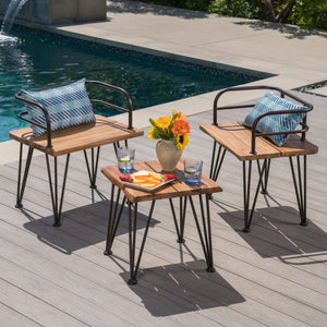 Zelfa Outdoor Industrial 3 Piece Teak Finish Acacia Wood End Table Chat Set With Rustic Metal Finish Iron Frame
