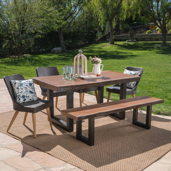 Orrey Outdoor 6 Piece Wicker Dining Set With Antique Teak Finish Concrete Table And Bench