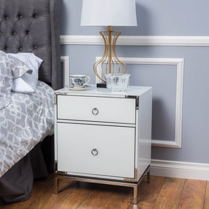 Danish Glass 2 Drawer Bedside Table