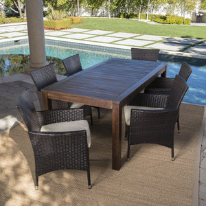 Lillian Outdoor 7 Piece Dining Set With Finished Wood Table And Wicker Dining Chairs With Water Resistant Cushions