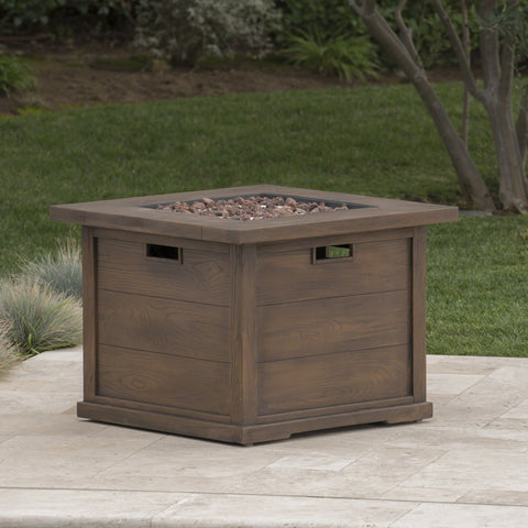 Ellenton Outdoor Wood Patterned Square Gas Fire Pit