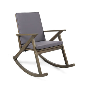 Guernsey Outdoor Acacia Wood Rocking Chair With Cushion