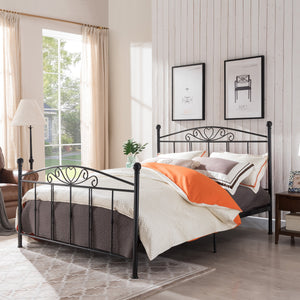 Pacific Classical Matte Finished Iron Queen Bed Frame