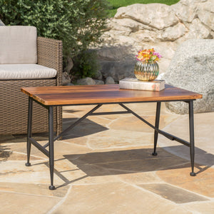 Ridge Outdoor Industrial Antique Finished Acacia Wood Coffee Table With Iron Accents