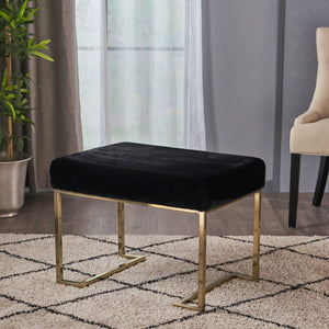 Lecanto Glam Furry Bench With Metal Legs