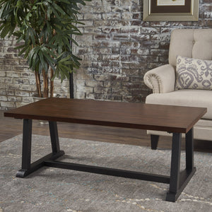Portia Industrial Finished Faux Wood Overlay With China Veneer Coffee Table
