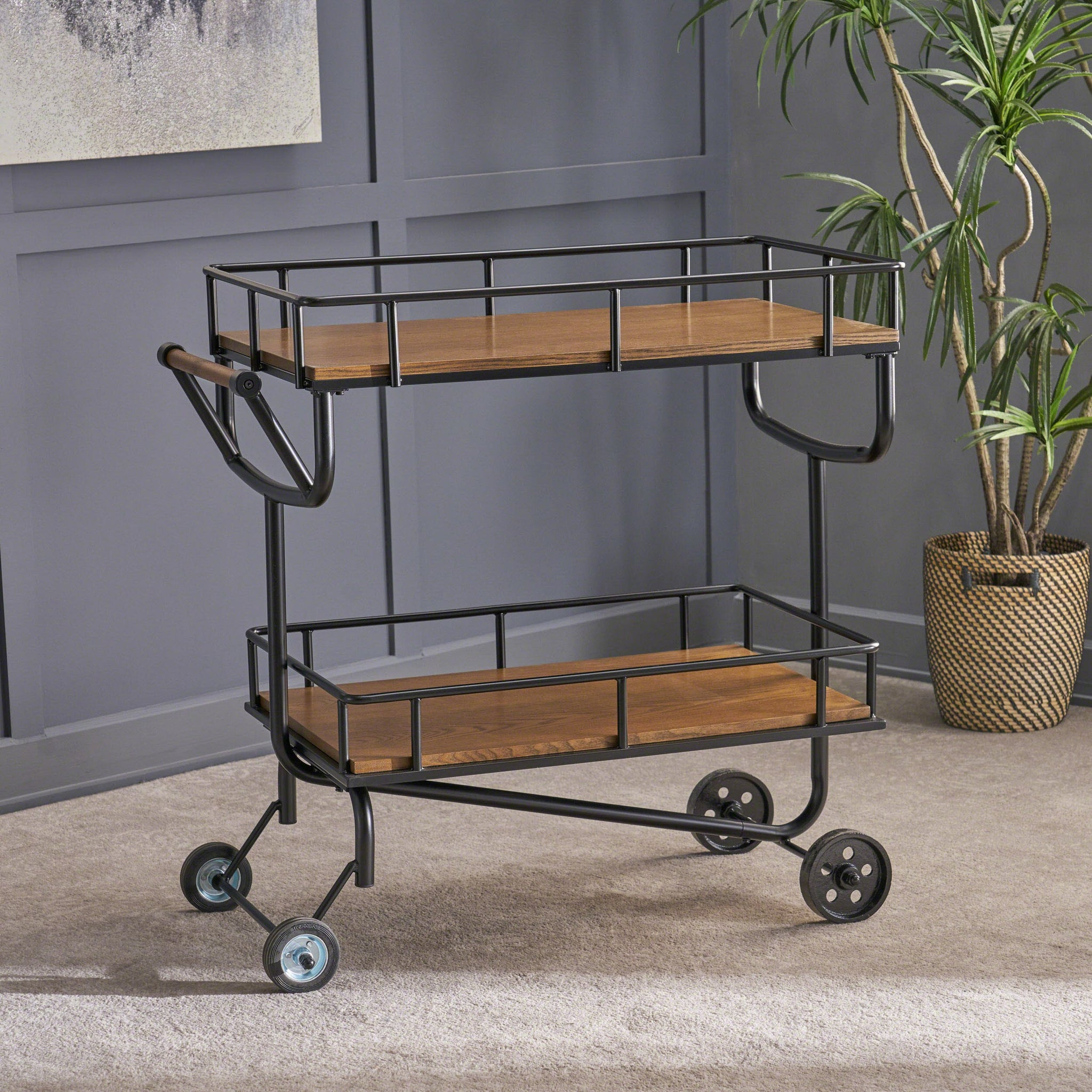 Laurel Industrial Finish Faux Wood Bar Cart With Gun Metal Finish Iron Frame