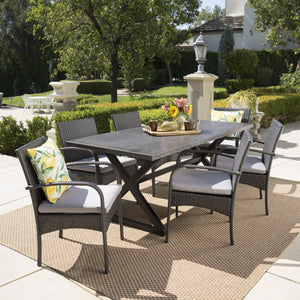 Ash Outdoor 7 Piece Aluminum Dining Set With Wicker Dining Chairs And Water Resistant Cushions