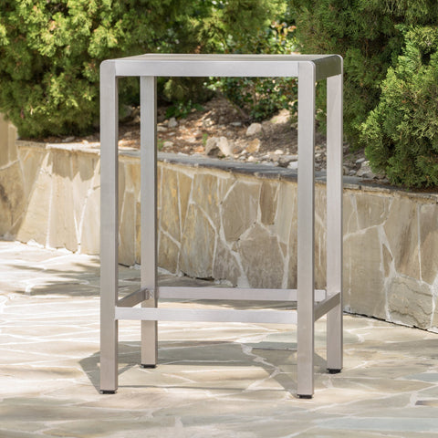 Canobie Outdoor Alumnimum Bar Table With Glass Top