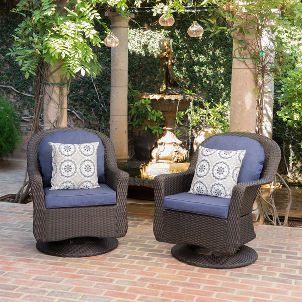 Levitas Outdoor Wicker Swivel Club Chairs With Water Resistant Cushions (Set Of 2)