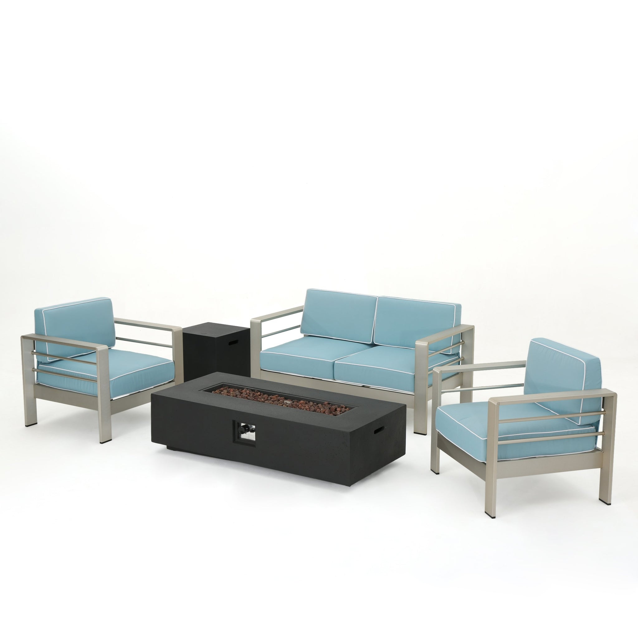 Canobie 5 Piece Aluminum Framed Chat Set With And Corded Water Resistant Cushions And Finished Rectangular Fire Pit