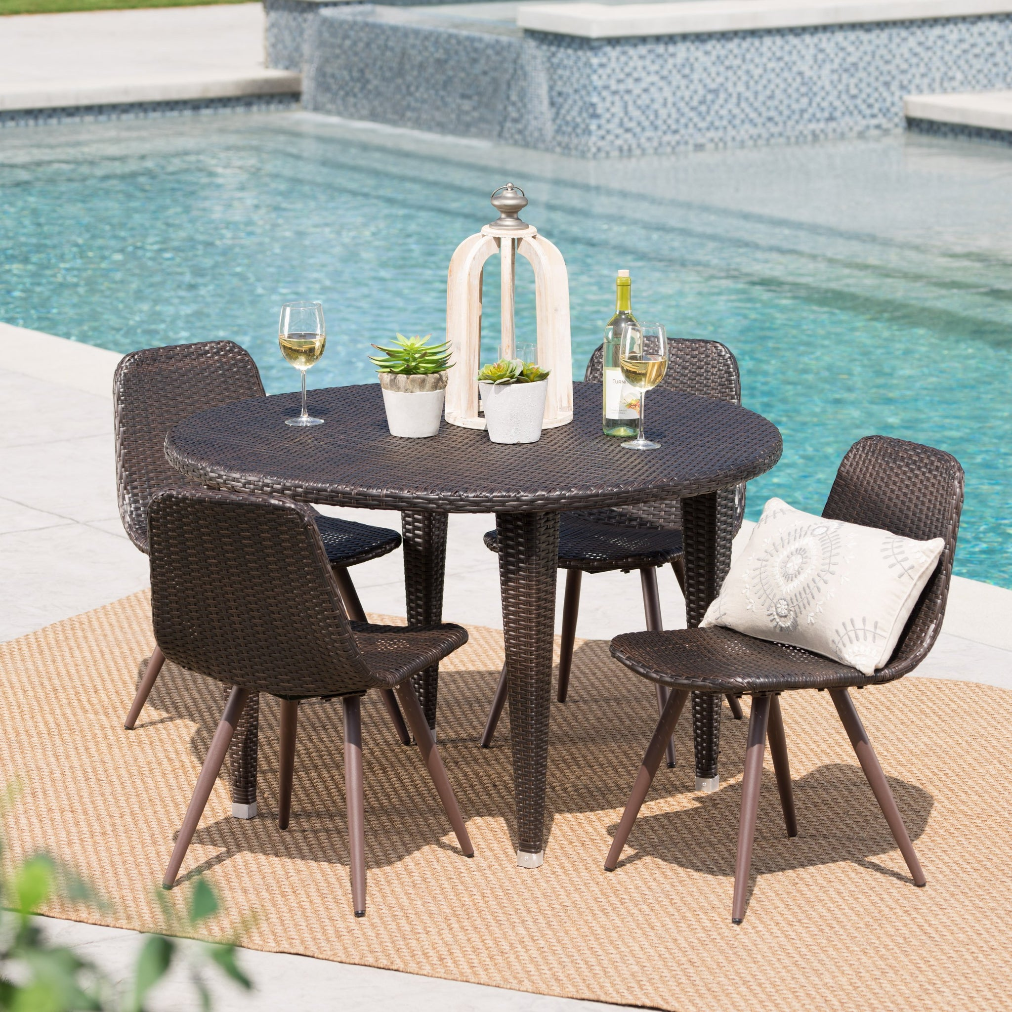 Wood Outdoor 5 Piece Wicker Circular Dining Set