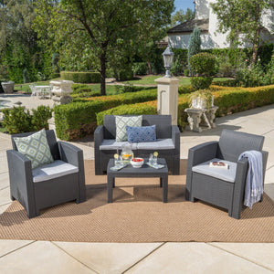 Davina Outdoor 4 Piece Faux Wicker Rattan Style Chat Set With Water Resistant Cushions