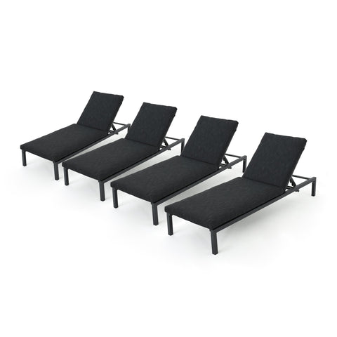 Nathaniel Outdoor Outdoor Mesh Chaise Lounges With Aluminum Frame (Set Of 4)