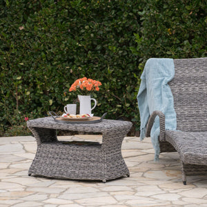 Benson Outdoor Aluminum Framed Wicker Chaise Lounge Side Table