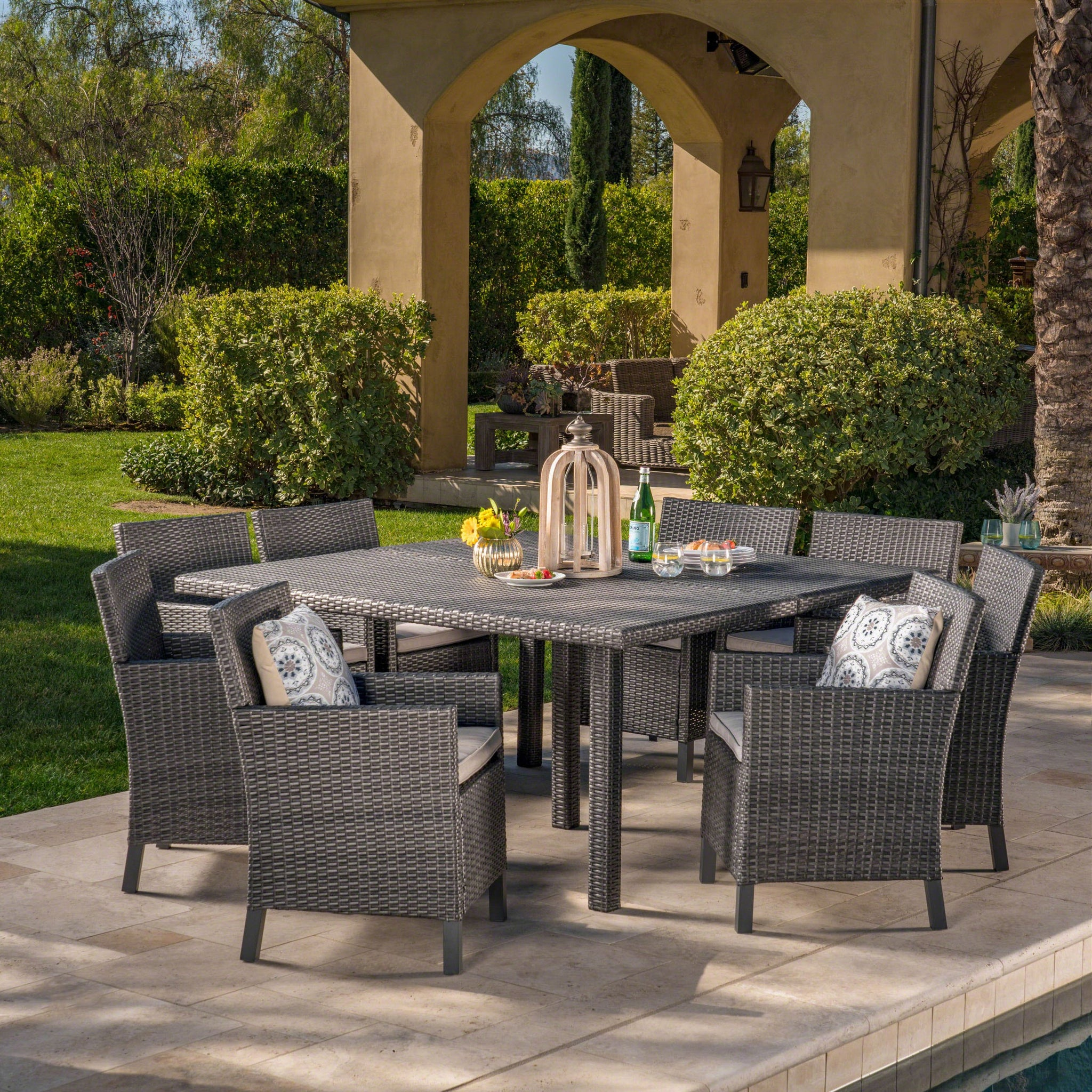 April Outdoor 9 Piece Wicker Square Dining Set With Water Resistant Cushions