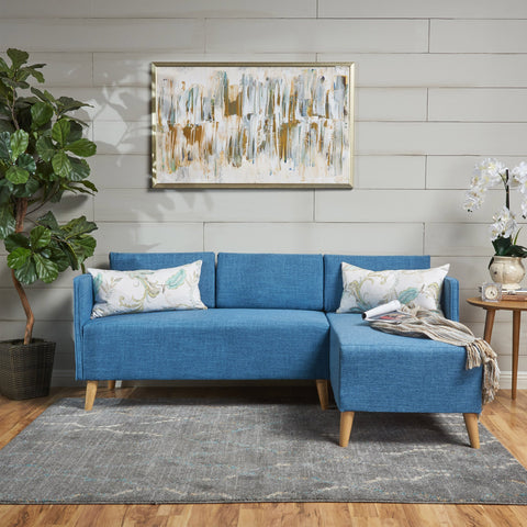 Auda Mid Century Modern Fabric Chaise Sectional