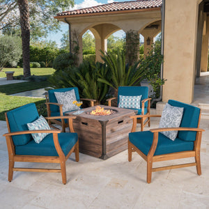 Marineland Outdoor 4 Seater Teak Finished Acacia Wood Club Chairs With Water Resistant Cushions And Fire Pit