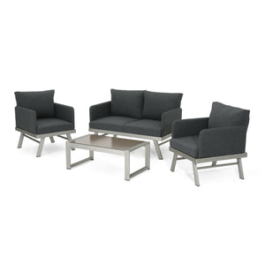 Merle Outdoor 4 Seater Aluminum Chat Set With Cushions
