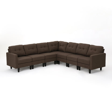 Emina Mid Century Modern 7 Piece Fabric Extended Sectional Sofa