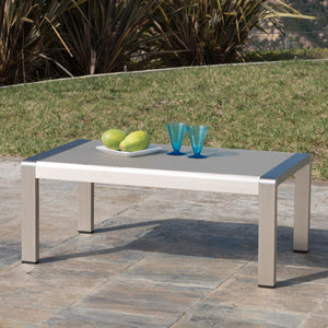 Canobie Outdoor Aluminum Coffee Table With Glass Top